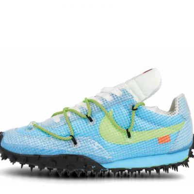OFF-WHITE X NIKE WAFFLE RACER VIVID SKYBLACK- ELECTRIC GREEN 2019